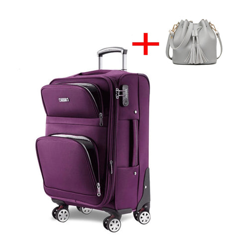 Letrend Women Rolling Luggage Set Spinner Wheel Suitcase Oxford Women'S Bag Travel Bags 20 Inch