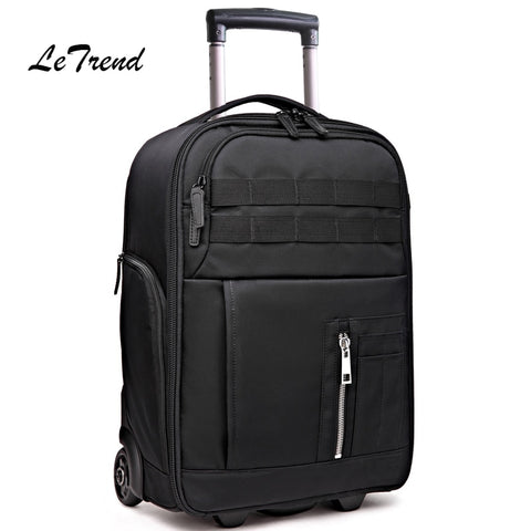 Letrend Multi-Function Travel Bag Cabin Suitcase Wheels Photography Backpack Capacity Rolling