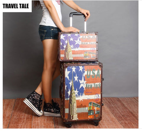 "Travel Tale 14""16""20""22""24"" Inches American Style Rolling Luggage America Travel Vintage Suitcases"