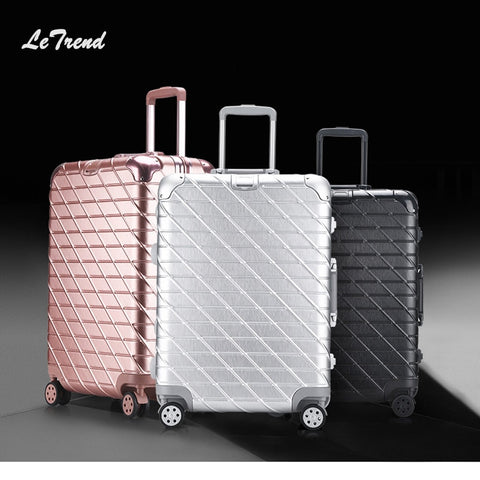 Letrend New Fashion 29 Inch Aluminium Frame Rolling Luggage Trolley Password Box 20' Boarding Suitcase Women Travel Bag Trunk