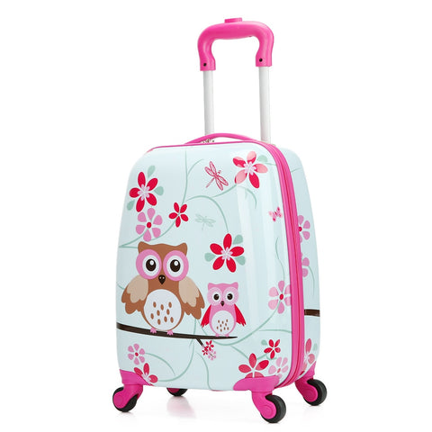 Letrend Cute Owl Rolling Luggage Set Spinner Kids Children Cartton Backpack Trolley Suitcase Wheels