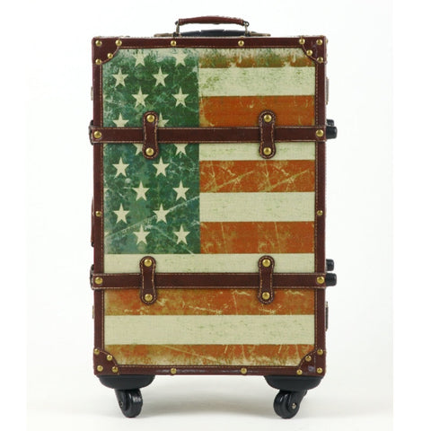Fashion Vintage Luggage Trolley Luggage Stars And Stripes Travel Bag Box 20 22 24 Universal