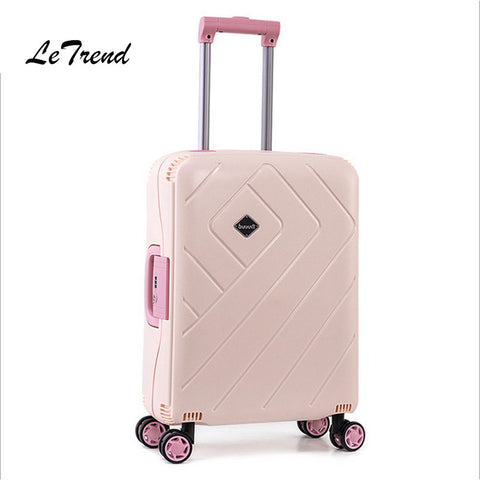 Letrend Women Suitcases Wheel Rolling Luggage Spinner Pink Password Travel Bag 20 Inch Cabin