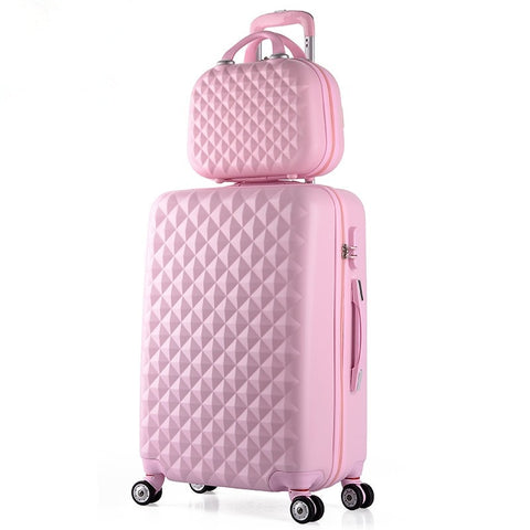 Wholesale!14 22Inches Pink Abs+Pc Hardside Travel Luggage Bags Set On Universal Wheels Fpr