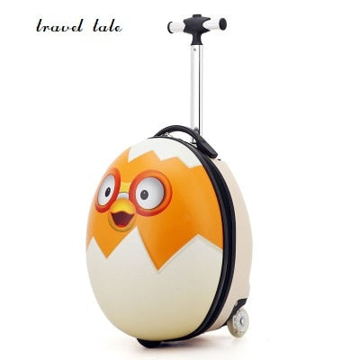 Lovely, Cartoon 3D Egg Abs+Pc 16 Inch Size Rolling Luggage Spinner Children'S Travel Suitcase