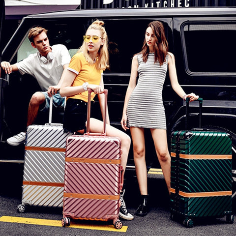 Abs Business Travel Rolling Luggage Aluminum Frame Alloy Spinner Wheels Airplane Suitcase Carry