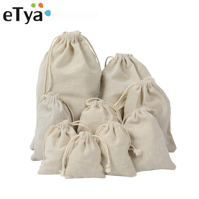 Etya Handmade Cotton Linen Storage Package Bag Drawstring Bag Small Coin Purse Travel Women Small