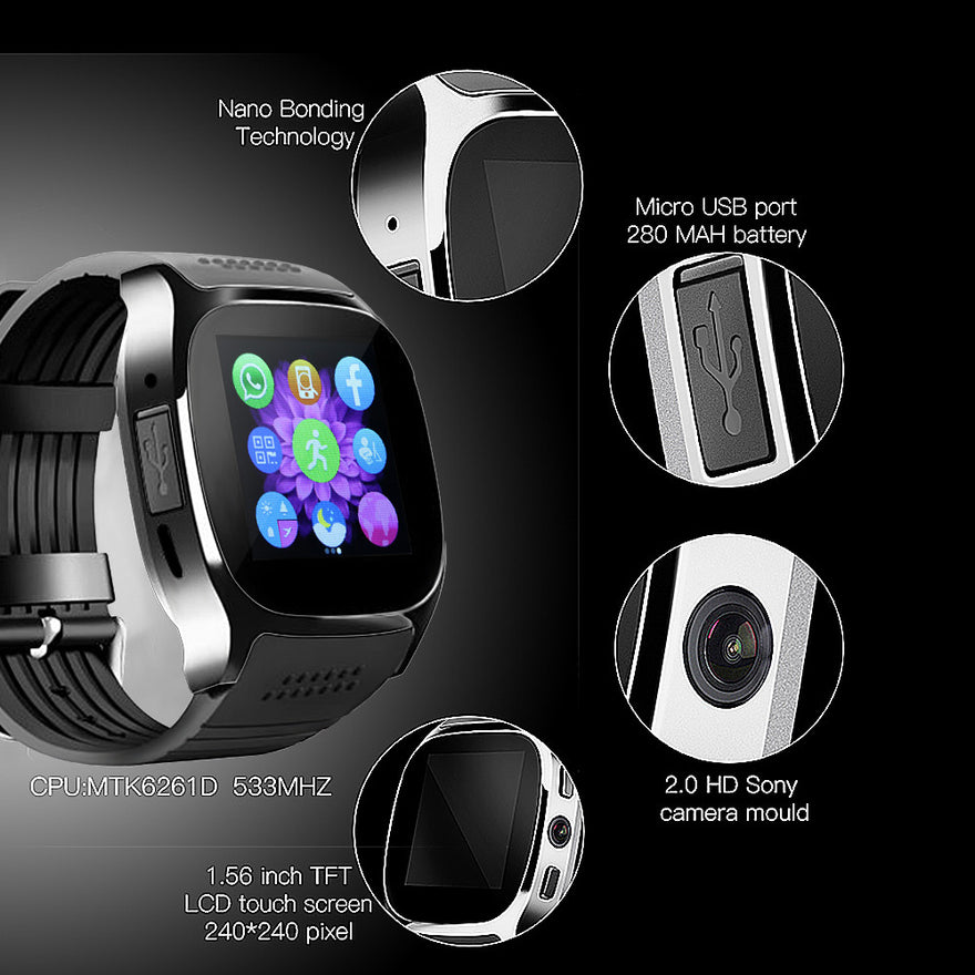 Fornorm T8 Bluetooth Smart Watch With Camera Music Player Facebook Whatsapp Sync Sms Smartwatch