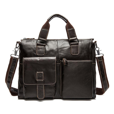 Genuine Leather Business Briefcase Laptop Handbag High Capacity Shoulder Bags Natural Cowhide