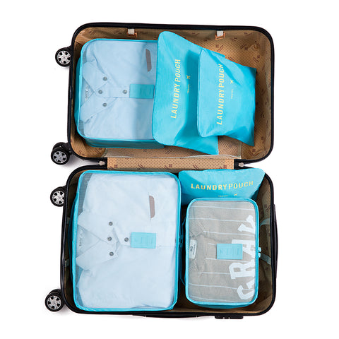 Iux Nylon Packing Cube Travel Bag System Durable 6 Pieces One Set Large Capacity Of Bags Unisex