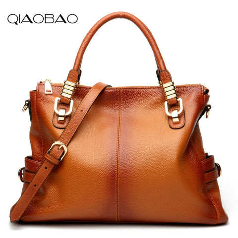 Qiaobao 2018 Houlder Bags Lady Casual Totes Bag Gradient Reflection 100% Real Leather Bags Women