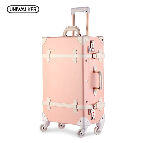 "Uniwalker 20""22"" 24"" 26"" Drawbars&Pu Leather Retro Luggage Suitcase Travel Trolley Case Rolling"
