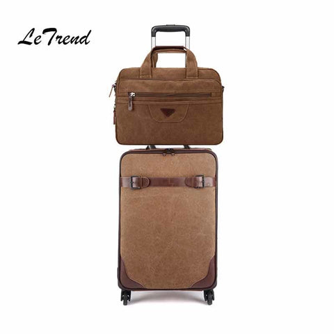 Letrend Rolling Luggage Set Spinner Black Men Vintage Trolley Suitcases Wheel Cabin Travel Bag