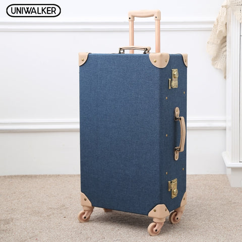 Uniwalker Fashion Vintage Travel Suitcase Trolley Travel Bags Retro Travel Trolley Luggage Suitcase