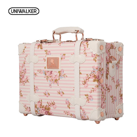 "Uniwalker 12"" 13"" Inch Waterproof Vintage Trunk Box Case Bag Luggage Small Suitcase Floral"