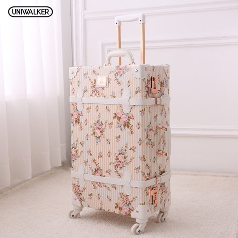 "Uniwalker 20"" - 26"" Girl Vintage Floral Trolley Luggage Suitcase, Women Retro Travel Suitcases On"
