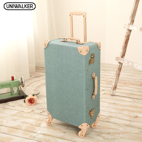 "Uniwalker 20"" -26"" Vintage Travel Trolley Luggage Suitcase With Combination Lock Rolling Luggage"