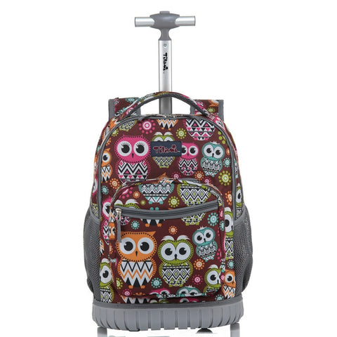 Rolling Backpack Children Trolley School Bags Laptop 18 Inch Multifunction Wheeled Bookbag Travel