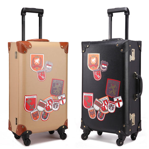 Fashion Suitcase Vintage Trolley Luggage Trolley Male Female Vintage Travel Bag20 22 24 The Box