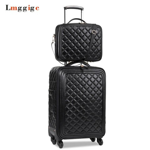 Women Luggage Set,High Quality Pu Leather Suitcase Bag,Universal Wheels Carry-Ons,Grid Pattern