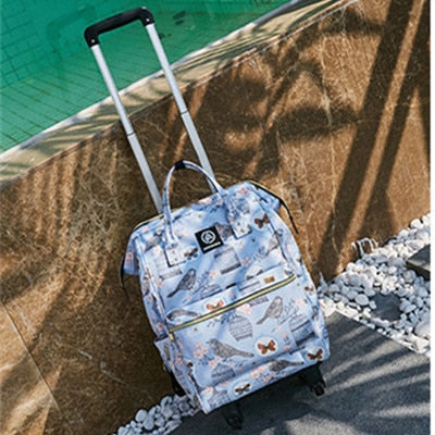 Women Rolling Luggage Bag,Canvas Travel Backpack,Suitcase With Wheel,Multifunctional Trolley