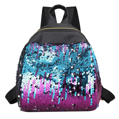 Women Fashion Pu Leather Shoulder Bag Casual Sequins Backpack Travel School Bag