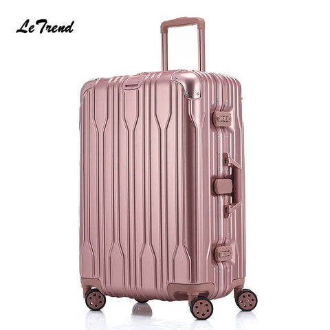 Letrend Fashion 29 Inch Aluminium Frame Rolling Luggage Universal Wheel Trolley Box 20'Boarding