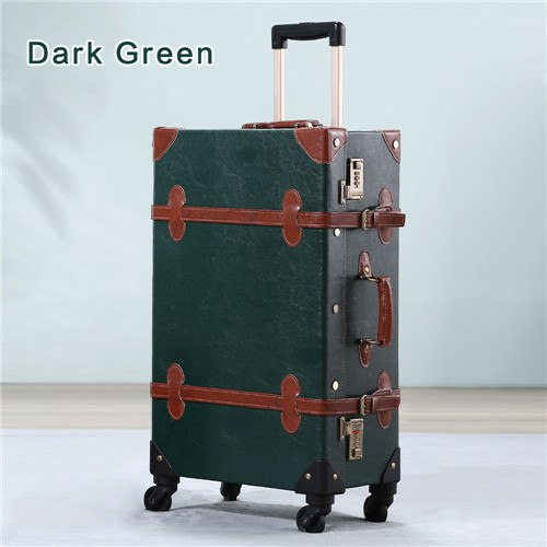 "20""-26"" Dark Green Vintage Suitcase Pu Leather Travel Suitcase , Scratch Resistant Rolling"