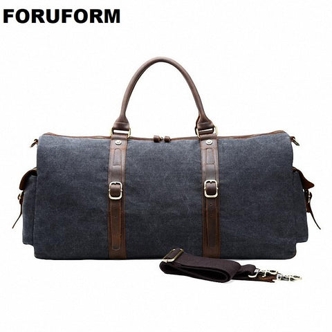 New Canvas Leather Men Bucket Travel Bags Carry On Luggage Bags Men Duffel Bags Travel Tote Large