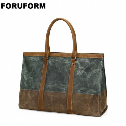 Waterproof Canvas Leather Men Travel Bag Carry On Luggage Bags Female Duffle Bags Women Travel Tote