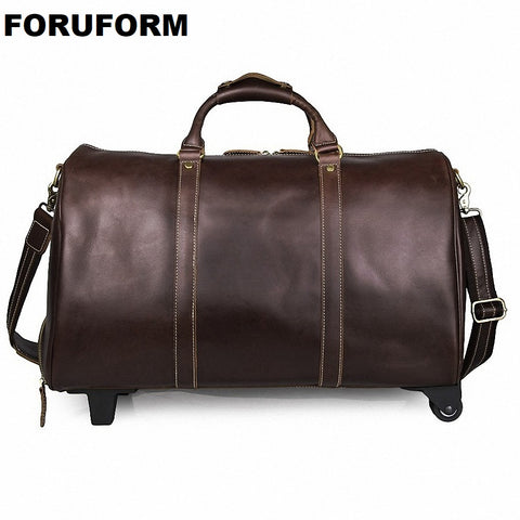 Draw-Bar Box Vintage Genuine Leather Cowhide Large Capacity Travel Luggage Men Duffle Bags