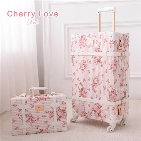 "20"" - 26"" Spinner Wheels Retro Pink Pu Leather Embossed Suitcase Women Trunk Vintage Luggages"