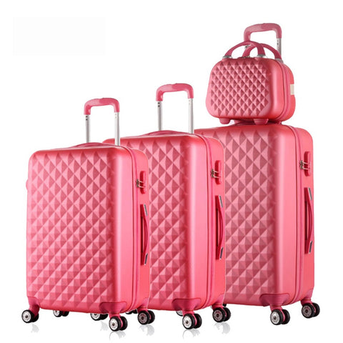 "12""20""24""28""4Piece Diamond Lines Trolley Suitcase/Travell Case Luggage/Pull Rod Trunk Rolling"
