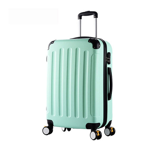 20Inch Classic Striped Patch Trolley Suitcase/Rolling Spinner Wheels Pull Rod Luggage/Women Girl