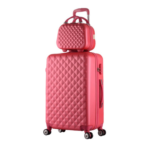 "24""+12""Hot Sales Diamond Lines Trolley Suitcase Set/Travell Case Luggage/Pull Rod Trunk Rolling"