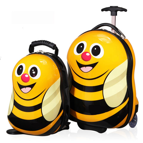 "2016 New 16 ""Wheeled Luggage+12"" Cool Backpack 3D Cartoon Children Suitcase/Abs Cartoon Travel"