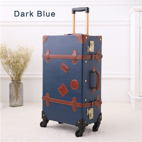 "12"" 20"" 22"" 24"" 26"" Drak Blue Retro Trolley Suitcase, 2Pcs/Set Vintage Travel Trolley Luggage"
