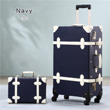"2Pcs/Set Vintage Pu Travel Luggage,12"" 20"" 22"" 24"" 26"" Retro Trolley Suitcase Bags With Spinner"
