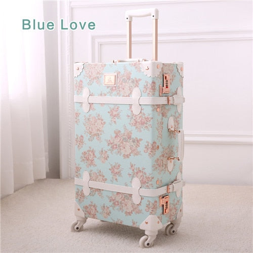 "13"" 20"" 22"" 24"" 26"" Girl Vintage Blue Floral Travel Trolley Luggage Suitcase, Women Retro Travel"