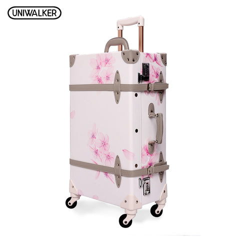 "Uniwalker 20"" - 26"" Vintage Rolling Luggage Bagages Pu Leather Suitcase Trunk Retro Luggage With"