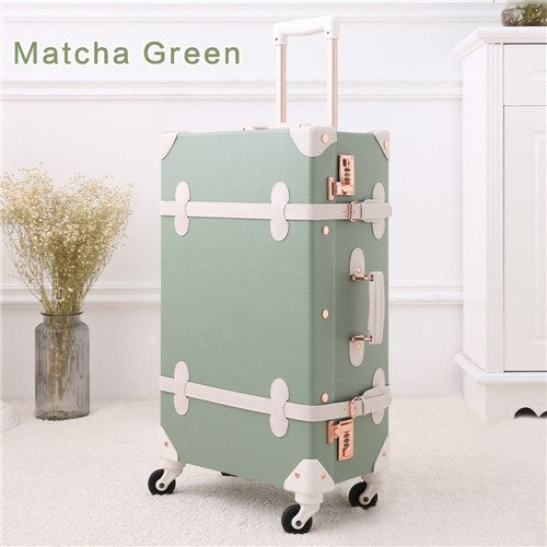 "20""22""24""26"" Drawbars&Pu Leather Retro Luggage Scratch Resistant Travel Trolley Case Rolling"