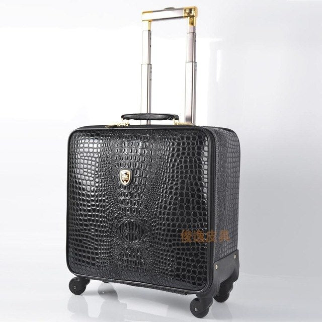 Unisex Pu Leather Crocodile Pattern Spinner Carry-On Luggage High Quality Pull-On Luggage Cases