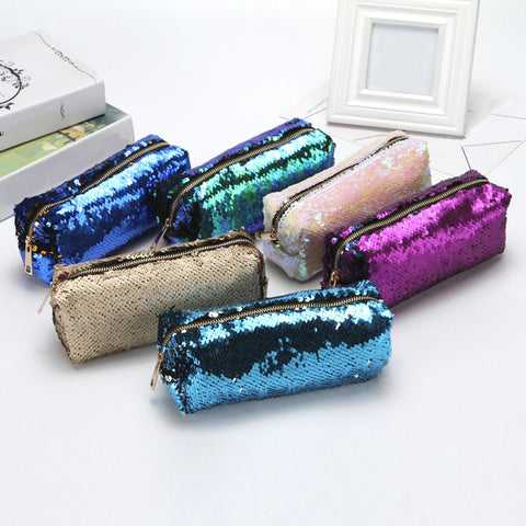 Unisex Fashion Double Color Sequins Handbag Cosmetic Bag Makeup Pouch