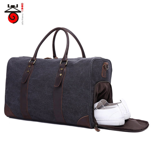 2018 Fashion Canvas Men'S Travel Bag Carry On Luggage Bags Vintage Handbag Crossbody Men Duffel