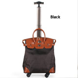 Letrend Korean Oxford Women Travel Bag Rolling Luggage Spinner Wheel Suitcases Women Red Vintage