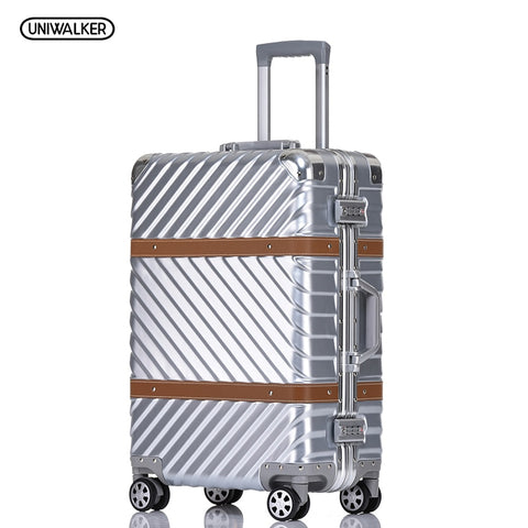 "Uniwalker 20"" 24"" 26"" 29"" Vintage Suitcase Pc+Abs Luggage Rolling Spinner Lightweight Suitcase With"
