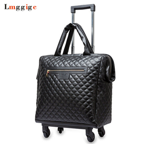 "Women 18"" Inch Cabin Travel Rolling Luggage Bag,Portable Wheels Suitcase,Fashion Carry-Ons,Pu"