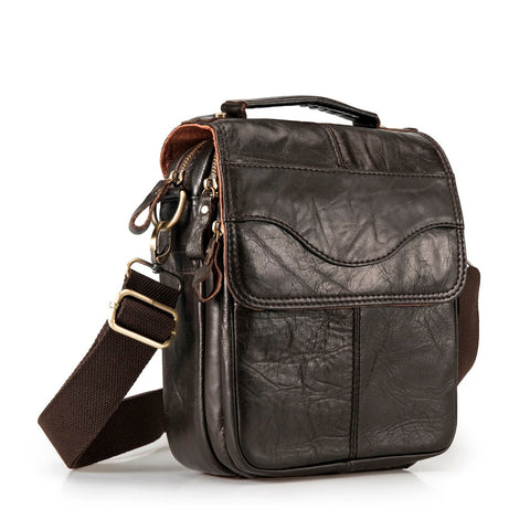"Quality Original Leather Male Casual Shoulder Messenger Bag Cowhide Fashion Cross-Body Bag 8"" Pad"
