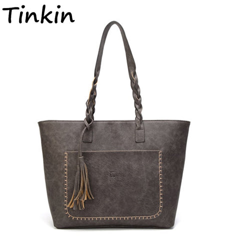 Tinkin  Vintage Pu Tassel Women Shoulder Bag Female Retro Daily Causal Totes Lady Elegant