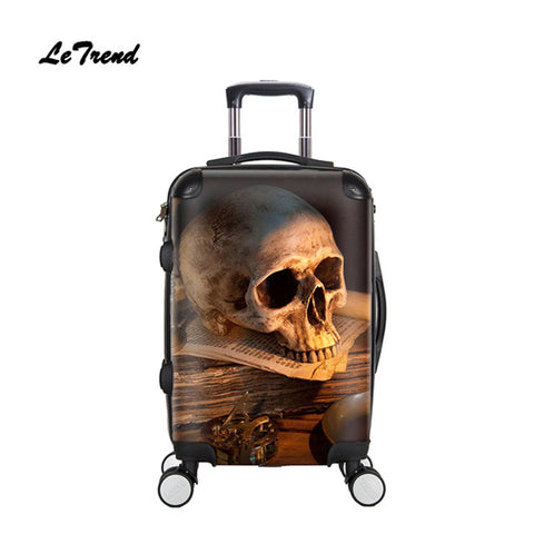 Letrend 3D Skull Rolling Luggage Spinner Men Fashion Cabin Trolley Suitcase Wheels 20 Inch Women